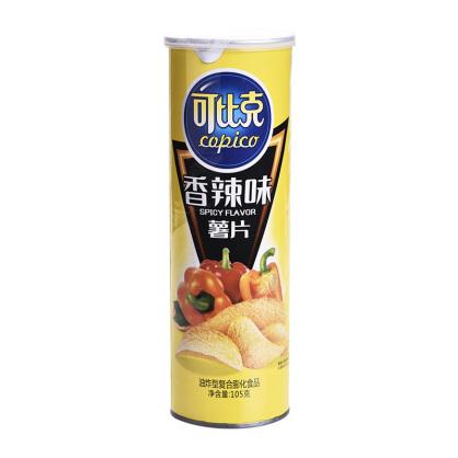 可比克105g薯片香辣味休闲膨化食品